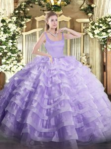Luxury Lavender Zipper Straps Beading and Ruffled Layers Sweet 16 Dresses Organza Sleeveless