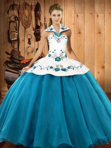 Elegant Floor Length Teal Ball Gown Prom Dress Halter Top Sleeveless Lace Up