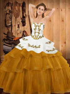 High End Gold Lace Up 15 Quinceanera Dress Embroidery and Ruffled Layers Sleeveless Sweep Train