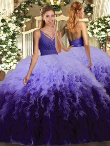Extravagant Ball Gowns Ball Gown Prom Dress Multi-color V-neck Tulle Sleeveless Floor Length Lace Up