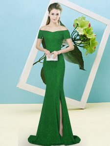 Sophisticated Green Mermaid Off The Shoulder Short Sleeves Sequined Sweep Train Zipper Sequins Dress for Prom