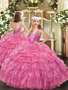 Superior Rose Pink Lace Up Little Girl Pageant Dress Beading and Ruffled Layers and Pick Ups Sleeveless Floor Length