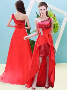 Wonderful A-line Prom Gown Red One Shoulder Elastic Woven Satin and Sequined Sleeveless High Low Lace Up