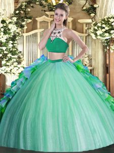 Simple High-neck Sleeveless Backless Quinceanera Gowns Multi-color Tulle