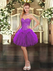 Vintage Sweetheart Sleeveless Prom Party Dress Mini Length Beading and Ruffles Purple Organza