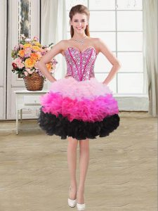 New Arrival Multi-color Sleeveless Organza Lace Up Prom Evening Gown for Prom and Party