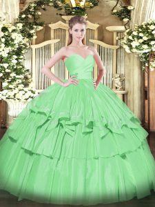 Fashionable Sleeveless Taffeta Floor Length Lace Up Sweet 16 Dress in Apple Green with Beading and Ruffled Layers