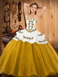 Super Gold Ball Gowns Strapless Sleeveless Tulle Floor Length Lace Up Embroidery Quinceanera Dress