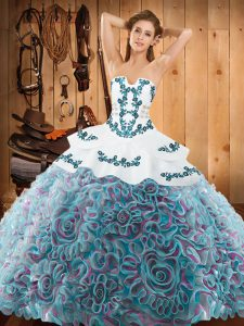 Lovely With Train Lace Up Sweet 16 Dress Multi-color for Military Ball and Sweet 16 and Quinceanera with Embroidery Sweep Train