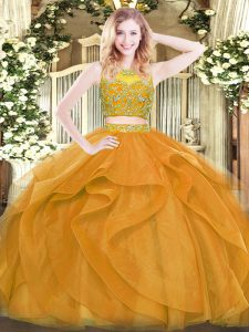 Fancy Gold Scoop Neckline Beading and Ruffles Sweet 16 Dress Sleeveless Zipper