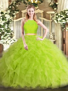 Noble Yellow Green 15 Quinceanera Dress Military Ball and Sweet 16 and Quinceanera with Ruffles Scoop Sleeveless Zipper