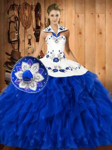 Popular Blue And White Sleeveless Embroidery and Ruffles Floor Length Sweet 16 Dresses
