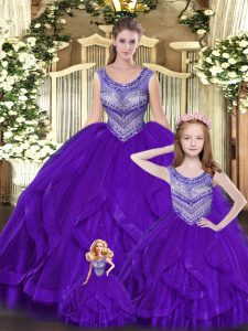 Eggplant Purple Ball Gowns Beading and Ruffles Quinceanera Gowns Lace Up Tulle Sleeveless Floor Length