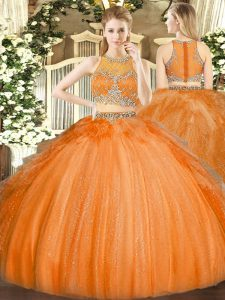 Sexy Orange Tulle Zipper Scoop Sleeveless Floor Length 15th Birthday Dress Beading