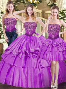 Sumptuous Eggplant Purple Sleeveless Tulle Lace Up Quinceanera Gown for Military Ball and Sweet 16 and Quinceanera
