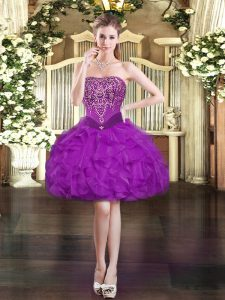 Designer Strapless Sleeveless Mini Length Beading and Ruffles Purple Organza