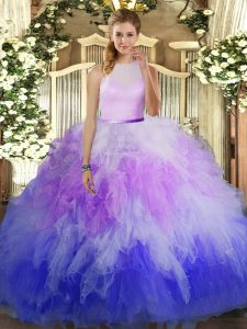 Multi-color Backless Quinceanera Gown Beading and Ruffles Sleeveless Floor Length