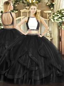 Eye-catching Floor Length Black Quince Ball Gowns Halter Top Sleeveless Backless