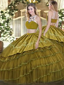Ideal Olive Green High-neck Neckline Beading and Embroidery and Ruffled Layers Quinceanera Dresses Sleeveless Backless