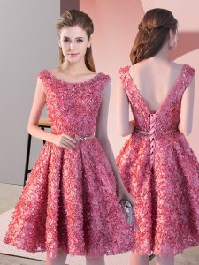 Traditional Coral Red Prom Party Dress Prom and Party with Belt Scoop Sleeveless Lace Up
