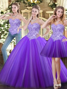 Sleeveless Tulle Floor Length Lace Up Vestidos de Quinceanera in Eggplant Purple with Beading