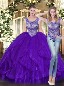 Tulle Scoop Sleeveless Lace Up Beading and Ruffles Quinceanera Gown in Purple