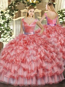 Free and Easy Ball Gowns Quinceanera Dress Watermelon Red V-neck Organza Sleeveless Floor Length Zipper