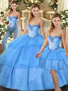 Sleeveless Organza Floor Length Lace Up Quinceanera Dress in Baby Blue with Beading and Ruffled Layers