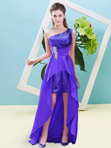 Dynamic Sleeveless Lace Up High Low Beading Dress for Prom