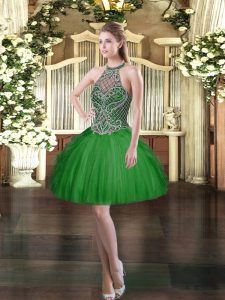 Colorful Dark Green Sleeveless Tulle Lace Up Prom Dress for Prom and Party