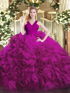 Fuchsia Ball Gowns Organza and Fabric With Rolling Flowers V-neck Sleeveless Ruffles Floor Length Zipper Sweet 16 Quinceanera Dress