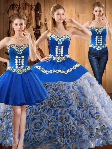 Multi-color Three Pieces Sweetheart Sleeveless Satin and Fabric With Rolling Flowers With Train Sweep Train Lace Up Embroidery Sweet 16 Quinceanera Dress