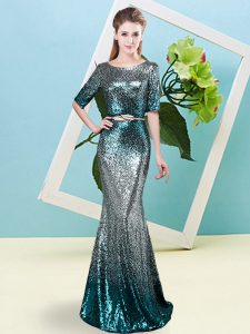 Beauteous Floor Length Multi-color Prom Party Dress Scoop Half Sleeves Zipper