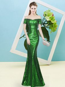 On Sale Green Sequined Zipper Prom Dress Short Sleeves Floor Length Sequins