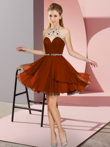 Super Rust Red Empire Chiffon Sweetheart Sleeveless Beading Mini Length Zipper Prom Evening Gown