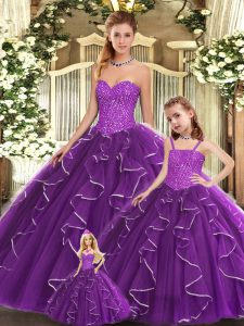 Sexy Sweetheart Sleeveless Lace Up 15 Quinceanera Dress Purple Organza