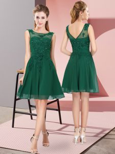 Dark Green Chiffon Zipper Scoop Sleeveless Knee Length Bridesmaid Dresses Appliques