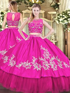 Perfect Floor Length Zipper Sweet 16 Dresses Hot Pink for Military Ball and Sweet 16 and Quinceanera with Beading and Appliques