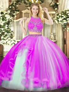 Fashion Beading and Ruffles 15th Birthday Dress Fuchsia Zipper Sleeveless Floor Length