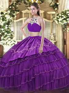 Fantastic Purple Two Pieces Tulle High-neck Sleeveless Beading and Embroidery and Ruffled Layers Floor Length Backless Quinceanera Gowns