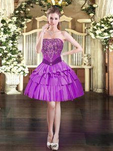 Modern Purple Sleeveless Beading Mini Length Prom Evening Gown