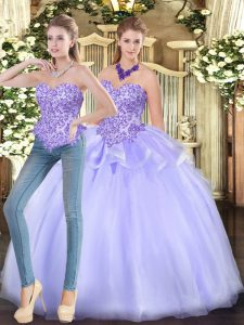 Glorious Appliques Sweet 16 Quinceanera Dress Lavender Zipper Sleeveless Floor Length