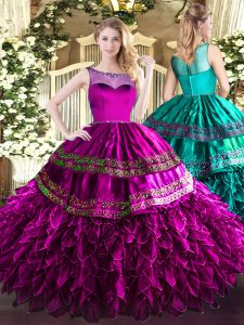Admirable Fuchsia Organza and Taffeta Zipper Scoop Sleeveless Floor Length Sweet 16 Quinceanera Dress Beading and Ruffles