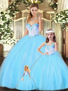 Aqua Blue Sleeveless Tulle Lace Up Quince Ball Gowns for Military Ball and Sweet 16 and Quinceanera