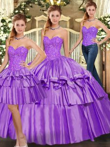 New Arrival Floor Length Lace Up Quinceanera Gown Eggplant Purple for Military Ball and Sweet 16 and Quinceanera with Beading and Ruffled Layers