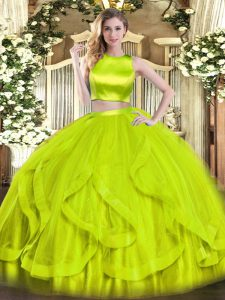 Free and Easy Yellow Green Criss Cross High-neck Ruffles Quince Ball Gowns Tulle Sleeveless