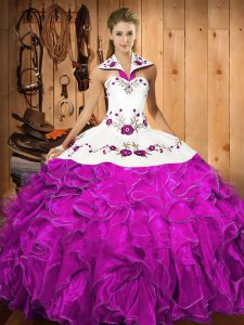 Modern Fuchsia 15 Quinceanera Dress Military Ball and Sweet 16 and Quinceanera with Embroidery and Ruffles Halter Top Sleeveless Lace Up