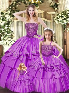 Sleeveless Ruffled Layers Lace Up Vestidos de Quinceanera