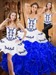 Floor Length Blue And White Quinceanera Dresses Strapless Sleeveless Lace Up