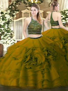 Enchanting Olive Green Zipper 15th Birthday Dress Beading and Ruffled Layers Sleeveless Floor Length